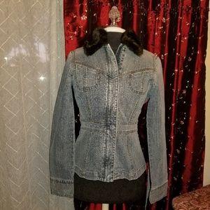 DKNY Jeans Jacket w/Rem Collar LIKE NEW. S